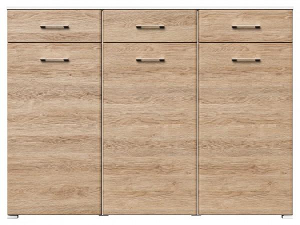 Hochwertige Dielenkommode 160 cm breit eiche weiß mit 3 Türen und 3 Schubladen