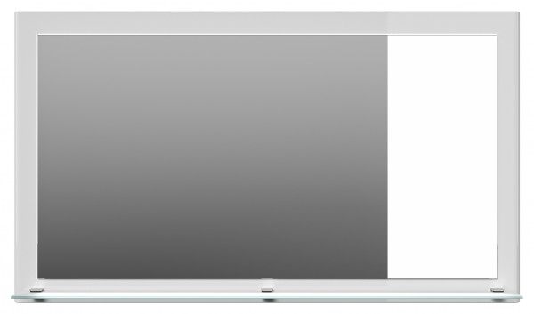 Garderobenspiegel Hochglanz weiß 100 cm mit Ablage Glas