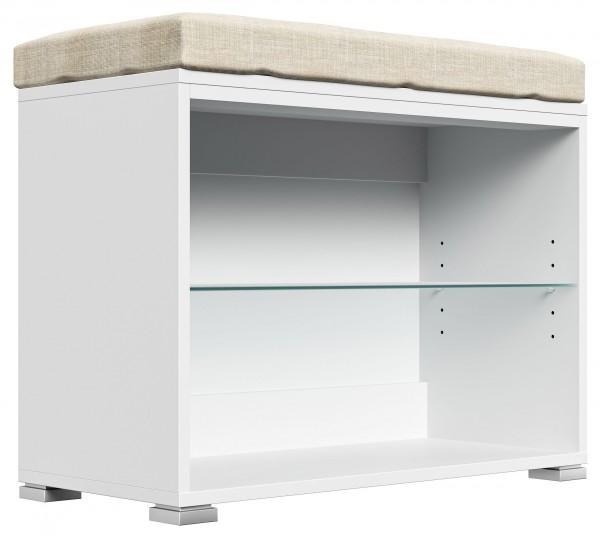 Schuhbank Sitzbank für Flur Hochglanz weiß matt 70 cm