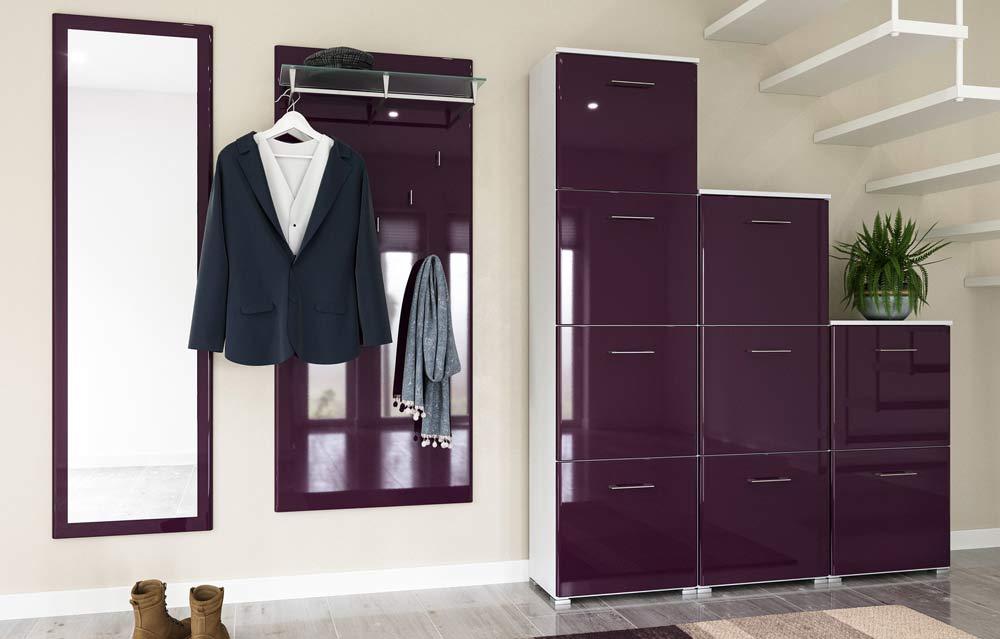 Komplettes Garderoben Set mit Paneel und Spiegel