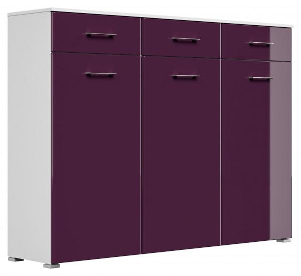 Große Dielenkommode weiß Brombeer mit 3 Türen und 3 Schubladen